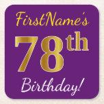[ Thumbnail: Purple, Faux Gold 78th Birthday + Custom Name Paper Coaster ]