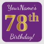 [ Thumbnail: Purple, Faux Gold 78th Birthday + Custom Name Sticker ]