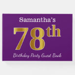 [ Thumbnail: Purple, Faux Gold 78th Birthday Party; Custom Name Guest Book ]