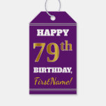 [ Thumbnail: Purple, Faux Gold 79th Birthday + Custom Name Gift Tags ]
