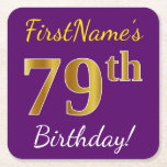 [ Thumbnail: Purple, Faux Gold 79th Birthday + Custom Name Paper Coaster ]