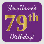 [ Thumbnail: Purple, Faux Gold 79th Birthday + Custom Name Sticker ]