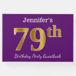 [ Thumbnail: Purple, Faux Gold 79th Birthday Party; Custom Name Guest Book ]