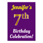 [ Thumbnail: Purple, Faux Gold 7th Birthday Celebration + Name Invitation ]