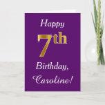 [ Thumbnail: Purple, Faux Gold 7th Birthday + Custom Name Card ]