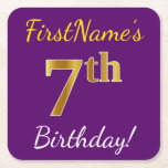 [ Thumbnail: Purple, Faux Gold 7th Birthday + Custom Name Paper Coaster ]
