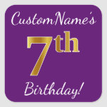 [ Thumbnail: Purple, Faux Gold 7th Birthday + Custom Name Sticker ]