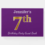 [ Thumbnail: Purple, Faux Gold 7th Birthday Party + Custom Name Guest Book ]