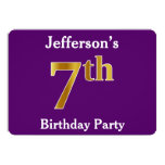 [ Thumbnail: Purple, Faux Gold 7th Birthday Party + Custom Name Invitation ]