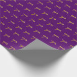[ Thumbnail: Purple, Faux Gold 7th (Seventh) Event Wrapping Paper ]