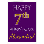 [ Thumbnail: Purple, Faux Gold 7th Wedding Anniversary + Name Card ]