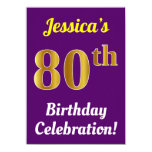 [ Thumbnail: Purple, Faux Gold 80th Birthday Celebration + Name Invitation ]
