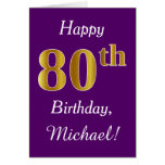 [ Thumbnail: Purple, Faux Gold 80th Birthday + Custom Name ]