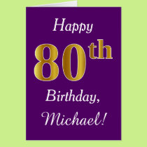 Purple, Faux Gold 80th Birthday   Custom Name Card