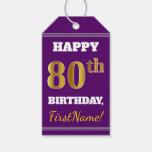 [ Thumbnail: Purple, Faux Gold 80th Birthday + Custom Name Gift Tags ]