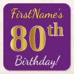 [ Thumbnail: Purple, Faux Gold 80th Birthday + Custom Name Paper Coaster ]