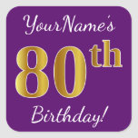 [ Thumbnail: Purple, Faux Gold 80th Birthday + Custom Name Sticker ]
