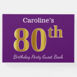 [ Thumbnail: Purple, Faux Gold 80th Birthday Party; Custom Name Guest Book ]