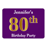 [ Thumbnail: Purple, Faux Gold 80th Birthday Party; Custom Name Invitation ]