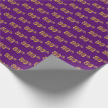 [ Thumbnail: Purple, Faux Gold 80th (Eightieth) Event Wrapping Paper ]