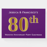 [ Thumbnail: Purple, Faux Gold 80th Wedding Anniversary Party Guest Book ]