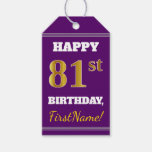 [ Thumbnail: Purple, Faux Gold 81st Birthday + Custom Name Gift Tags ]