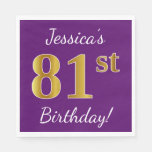 [ Thumbnail: Purple, Faux Gold 81st Birthday + Custom Name Paper Napkin ]