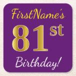 [ Thumbnail: Purple, Faux Gold 81st Birthday + Custom Name Paper Coaster ]