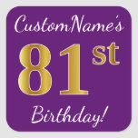 [ Thumbnail: Purple, Faux Gold 81st Birthday + Custom Name Sticker ]