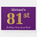 [ Thumbnail: Purple, Faux Gold 81st Birthday Party; Custom Name Guest Book ]