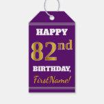 [ Thumbnail: Purple, Faux Gold 82nd Birthday + Custom Name Gift Tags ]