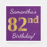 [ Thumbnail: Purple, Faux Gold 82nd Birthday + Custom Name Napkin ]