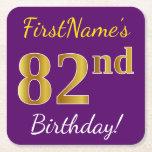 [ Thumbnail: Purple, Faux Gold 82nd Birthday + Custom Name Paper Coaster ]