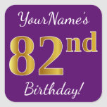 [ Thumbnail: Purple, Faux Gold 82nd Birthday + Custom Name Sticker ]