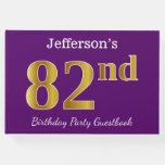 [ Thumbnail: Purple, Faux Gold 82nd Birthday Party; Custom Name Guest Book ]
