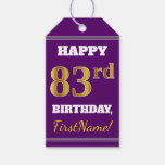 [ Thumbnail: Purple, Faux Gold 83rd Birthday + Custom Name Gift Tags ]