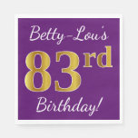 [ Thumbnail: Purple, Faux Gold 83rd Birthday + Custom Name Paper Napkin ]