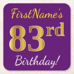 [ Thumbnail: Purple, Faux Gold 83rd Birthday + Custom Name Paper Coaster ]