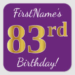 [ Thumbnail: Purple, Faux Gold 83rd Birthday + Custom Name Sticker ]