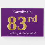 [ Thumbnail: Purple, Faux Gold 83rd Birthday Party; Custom Name Guest Book ]