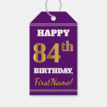 [ Thumbnail: Purple, Faux Gold 84th Birthday + Custom Name Gift Tags ]