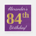 [ Thumbnail: Purple, Faux Gold 84th Birthday + Custom Name Napkin ]