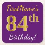 [ Thumbnail: Purple, Faux Gold 84th Birthday + Custom Name Paper Coaster ]