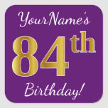 [ Thumbnail: Purple, Faux Gold 84th Birthday + Custom Name Sticker ]