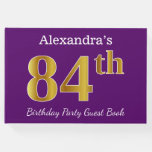[ Thumbnail: Purple, Faux Gold 84th Birthday Party; Custom Name Guest Book ]