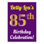 [ Thumbnail: Purple, Faux Gold 85th Birthday Celebration + Name Invitation ]
