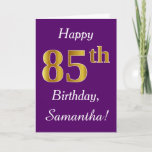[ Thumbnail: Purple, Faux Gold 85th Birthday + Custom Name Card ]