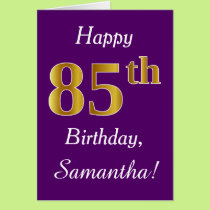 Purple, Faux Gold 85th Birthday   Custom Name Card