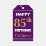 [ Thumbnail: Purple, Faux Gold 85th Birthday + Custom Name Gift Tags ]