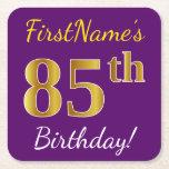 [ Thumbnail: Purple, Faux Gold 85th Birthday + Custom Name Paper Coaster ]